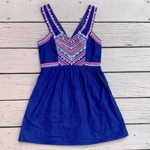 American Eagle Embroidered Cut-Out-Back Dress
